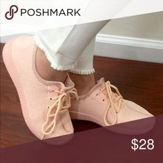 Pink knit shoes -Stylish and comfy lightweight tennis shoes  -fits true to size   -sole 1 inch Shoes Athletic Shoes