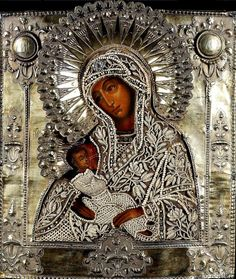 Ebroidered with beads. Religious Images, Religious Icons, Religious Art, Blessed Mother Mary, Divine Mother, Russian Icons, Russian Art, Black Jesus, Madonna And Child