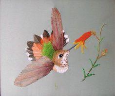 colibri con dos tecnicas bordado y aplicaciones