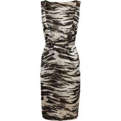 LANVIN Zebra-printed Silk Dress (1,775) found on Polyvore