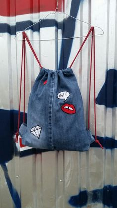 Tasha handmade/ grunge denim backpack