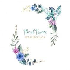 Floral frame with birds Free Vector Floral Watercolor Background, Watercolor Flowers, Vintage Grunge, Vintage Wedding Stationery, Vintage Floral Backgrounds, Bird Free, Floral Banners, Wreath Drawing, Free Frames