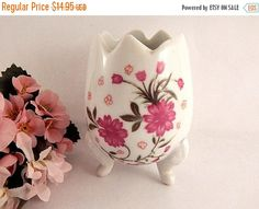 Footed Egg Vase White Porcelain Pink Floral by SpringJewelryThings
