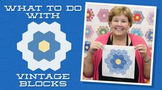 Jenny demonstrates how to use old unfinished quilt blocks to make a beautiful applique quilt. She uses EZ-Steam II Tape and shows us how to finish the applique with a blanket stitch. Quilting For Beginners, Quilting Tips, Quilting Tutorials, Quilting Projects, Msqc Tutorials, Jenny Doan Tutorials, Missouri Quilt Tutorials, Quilt As You Go, Hexagon Quilt
