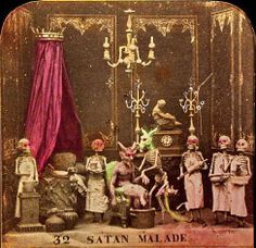 """Anon, """"Satan Malade,"""" from Les Diableries, c. 1861, hand-tinted stereocard (detail)"""