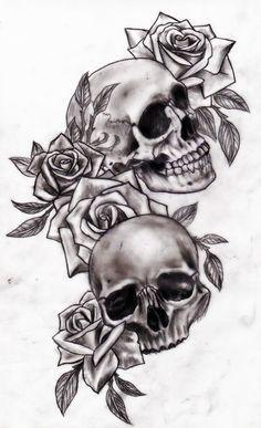Skull and roses by Slabzzz.deviantart.com on @deviantART