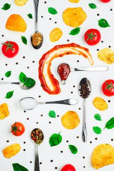 Chips and sauce pattern (with basil and pepper) by Dina (Food Photography) on…