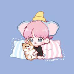 #exo #baekhyun #cute #art #fanart Chanyeol, Baekhyun Fanart, Chanbaek Fanart, Kpop Fanart, Bts Chibi, Anime Chibi, Exo Cartoon, Exo Stickers, Exo Anime