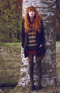 Coat, Sweater, Wool Skirt, Overknees, Old Man Shoes Fall Outfits, Cute Outfits, Fashion Outfits, Womens Fashion, Gossip Girl, Beautiful Redhead, Carrie Bradshaw, Wool Skirts, Looks Style