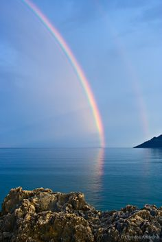 Coastline and sea images from Greece by Christos Andronis Rainbow Aesthetic, Sky Aesthetic, Jesus Pictures, Nature Pictures, Rainbow Promise, Rainbow Sky, Photos Voyages, Amazing Nature, Beautiful Landscapes