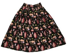 PAYMENT 3 1954 Novelty Print Cat Birds Nest Skirt Artist Textile Kalico Kitty AAA Yarlekovic