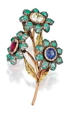 18 KARAT TWO-COLOR GOLD, SILVER, DIAMOND, RUBY, SAPPHIRE AND EMERALD BROOCH, BUCCELLATI, signed Buccellati, with maker's marks.