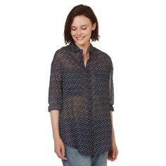 Chemise à manches longues en voile de coton light imprimé