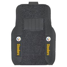 """The Pittsburgh Steelers Deluxe Car or Truck Floor Mat measures 20"""" x 27"""" and fits most front seat vehicle floors."""