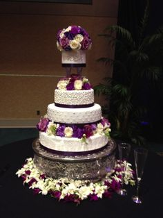 Wedding Cake Purple - leave out top layer and use our flowers