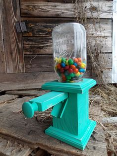 Antique Mason Jar Candy Dispenser Wooden Mason Jar Peanut Dispenser Stand Pull…