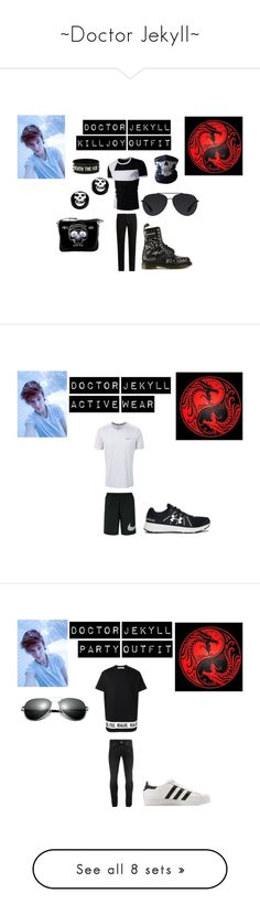 """""""~Doctor Jekyll~"""" by x-miss-chief-x ❤ liked on Polyvore featuring Bally, Dr. Martens, Hot Topic, KURO, men's fashion, menswear, monochrome, mcr, killjoys and dangerdays"""