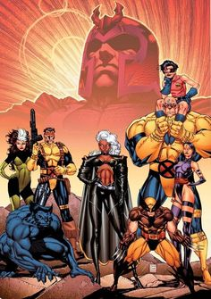 The X-Men: Wolverine, Storm, Rogue, Beast, Forge, Jubilee, Psylocke, and Strong Guy. With Magneto in the background.