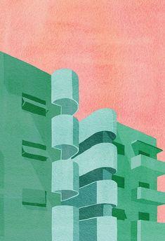 Illustration Art Print, Architecture Art Print, Bauhaus Art Prints, Tel Aviv City Poster, Building W Architecture Bauhaus, Architecture Graphics, Architecture Background, Architecture Posters, Architecture Design, Architecture Illustrations, Architecture Panel, Drawing Architecture, Victorian Architecture