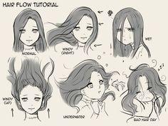 Hair flow tutorial (1000x750)                                                                                                                                                                                 More