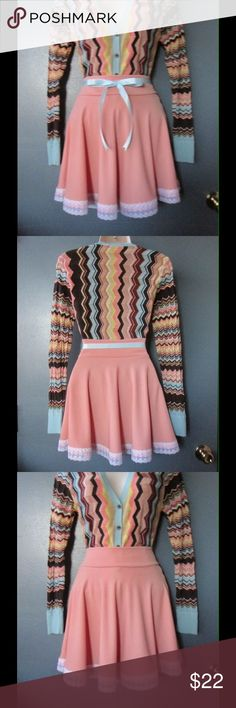 Impressive Coral Skater Skirt W/ Lace Trim & Belt NWOT. This skirt is really cute and adorable. Soft and comfy material. Gorgeous colors and exquisite decoration. Belt included. Size Medium. Save $$$ on bundles. Skirts Circle & Skater