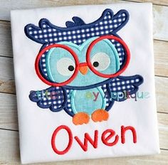 Smart Owl Applique - 4 Sizes! | What's New | Machine Embroidery Designs | SWAKembroidery.com Stitch Away Applique
