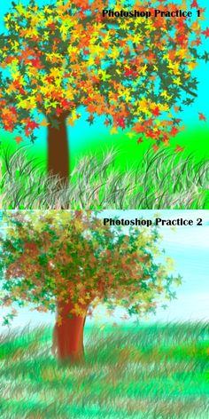 Photoshop lesson 2 had us learning to paint with the brushes. These are my practice trees.