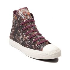 Shop for Womens Converse All Star Hi Feathers Sneaker in Wine Feathers at Journeys Shoes. Shop today for the hottest brands in mens shoes and womens shoes at Journeys.com.Fly high with fabulous feathers! This Converse All Star Hi Feathers features allover feather print graphics, wine lace closure, and signature rubber Converse sole. Available only online at Journeys.com and SHIbyJourneys.com!Please note that this shoe runs a half size large.