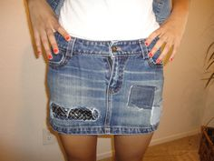 Skirt acid wash with patches and studs size 3 by CasualD on Etsy, $23.00