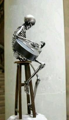 """Heavy"" is a Metal Skeleton sculpture. #music #artwork #skeleton http://www.pinterest.com/TheHitman14/musical-odds-ends/"