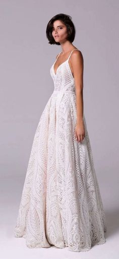 Michal Medina 2018 Wedding Dresses Romantic vintage voluminous dress embellished with crystals and beads that adorn the neckline spaghetti strap crochet lace full skirt wedding dress : Michal Medina Lace Wedding Dress, White Wedding Dresses, Wedding Gowns, Wedding Ceremony, Wedding Skirt, Wedding White, Wedding Outfits, Party Gowns, Dresses Short