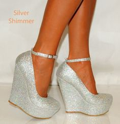 LADIES WOMENS SILVER GLITTER COURT WEDGES WEDGES HIGH HEELS SHOES ...