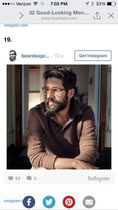 Sexy man, beard, glasses