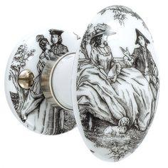 Bouton de porte Porcelaine décorée en porcelaine de limoges, nickelé