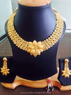 22K Gold Floral Necklace Design, Gold Designer Necklace Models, Gold Designer Floral Necklace Pictures.
