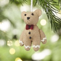 Gingerbear Felt Christmas Ornament | Crate and Barrel $5.37