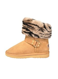 d8aeb30bf02d Botany Chestnut Sheepskin Ugg boot - ultra short ugg with faux fur collar  and strap and buckles details.
