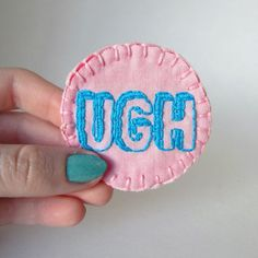 Hand embroidered 3D UGH patch or merit badge pin by MoonriseWhims