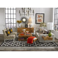 Industrial Modern Living Room by Jonathan Adler on projectdecor.com Cheerinh up a living room with bright colours accessories