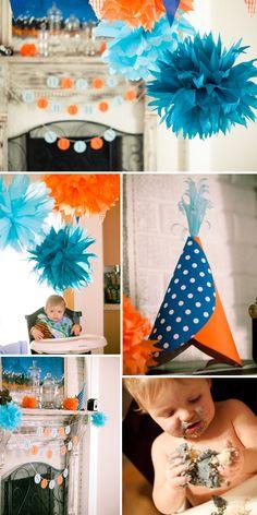 Orange and Blue birthday decorations