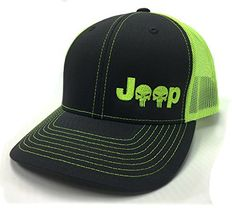 Jeep Logo with Punisher Skull Symbol Left Panel Embroidered Mesh/Twill Cap - Charcoal/Neon Green Jeep Wrangler Parts, Jeep Parts, Jeep Wranglers, Jeep Jk, Jeep Rubicon, Jeep Emblems, Kids Jeep, Jeep Clothing, Green Jeep