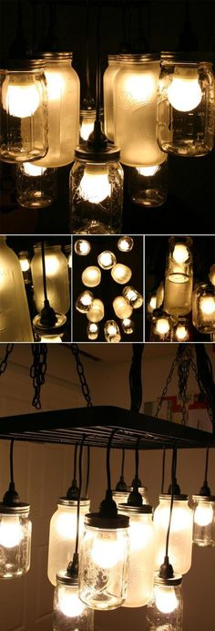 Interesting Idea :D DIY Mason Jar Chandeliers ..whats cool about this is you can paint the jars also and give it a stained glass look !!or just spray it with a white