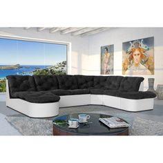 SCALA Canapé d'angle XL modulable 6 places - 310x222 cm - Noir et blanc - Achat / Vente canapé - sofa - divan Structure : bois et panneaux de particules-Revêtement : tissu, 100% polyester - Cdiscount