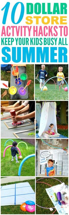 These 10 Dollar Store Hacks to Keep Your Kids Busy All Summer are THE BEST! I'm so glad I found these GREAT summer activities for kids! Now I have some great ways to keep my kids off the computer and having fun this summer! Definitely pinning!