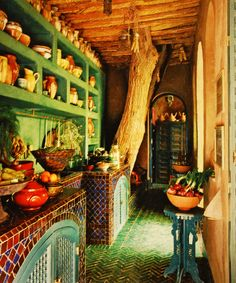 Latino Living: Mexican Decor Inspiration For The Latino Home from elle decor Moroccan Kitchen, Moroccan Decor, Bohemian Kitchen, Moroccan Style, Bohemian Homes, Moroccan Interiors, Moroccan Design, Gypsy Kitchen, Bohemian Gypsy