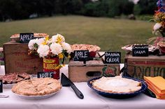 "PIE BUFFET for dessert | Love this homey, practical, delicious suggestion!  This would be adorable for a County Fair birthday party - needs a sign above that says, ""Pie Eating Contest!""  Could take the place of the birthday cake...."