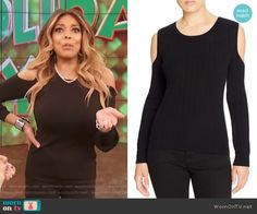 33beb0129b0 Wendy s black cold shoulder sweater on The Wendy Williams Show