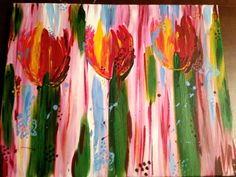 Wine, Tulips and butterflies for FAL Tulips, Butterflies, Bee, Gallery, Outdoor Decor, Artwork, Painting, Etsy, Home Decor