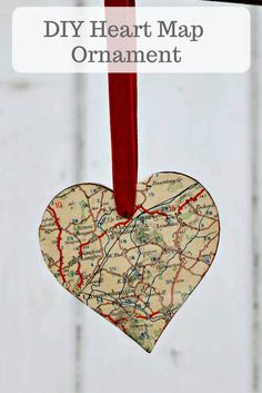 Make a personalised Christmas decoration for your tree with a DIY heart map ornament. They also make a lovely gift.