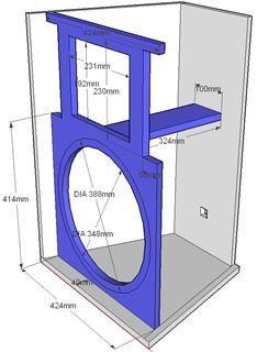 Projeto para duas vias dutada (DUTOS RÉGUA) para alto falante de 15″ e driver, sua reposta está entre 55 Hz á 1800 Hz, seu formato do tipo corneta, sua construção é muito simples e deve ser com MDF de 18 mm, ela pode ser usada como caixa satélite por ser bem compacta. Som, Box 12 Inch Subwoofer Box, Diy Subwoofer, Subwoofer Box Design, Speaker Box Design, Top Speakers, Built In Speakers, 12 Inch Speaker Box, Electronic Circuit Design, Woofer Speaker